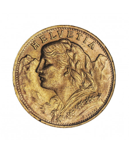 5.807g Gold Coin 20 Vreneli Swiss Francs from 1935
