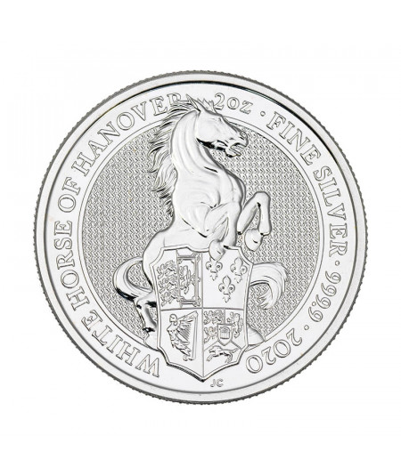 2oz White Horse of Hanover Silver Coin from 2020 - Queen's Beasts Serie