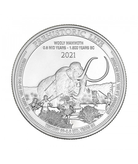 1oz Wooly Mammoth Silver Coin from 2021 - Prehistoric Life series
