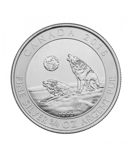¾ oz Howling Wolves Silver Coin from 2016 - Wolf series