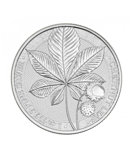 1oz Chestnut Leaf Silver Coin from 2021 - Mythical Forest Serie