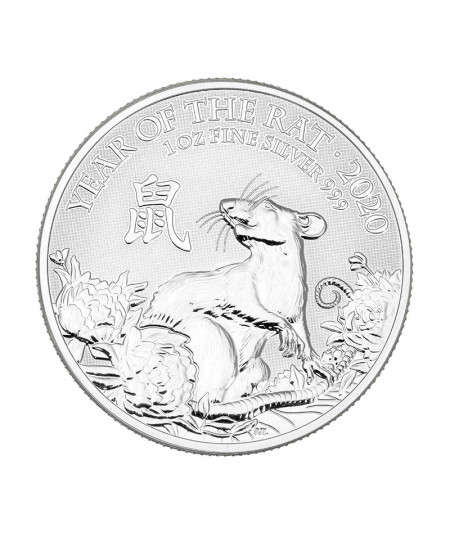1oz Year of the Rat de Plata Silver Coin from 2020 - UK Lunar Series