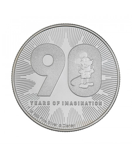 1oz Silver Coin Mickey Mouse 90th Aniversary - Disney Series
