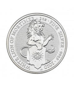 2oz Silver Coin White Lion of Mortimer from 2020 - Queen's Beasts series