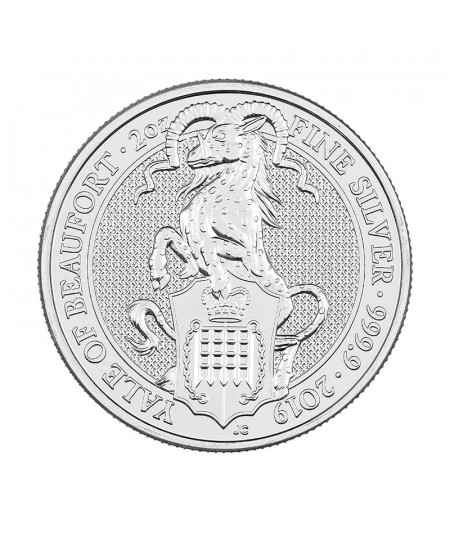 2oz Silver Coin Yale of Beaufort from 2019 - Queen's Beast Series