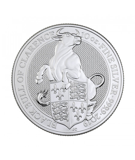 10oz Silver Coin Black Bull of Clarence from 2019 - Queen's Beasts series