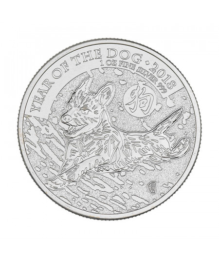 1oz Silver Coin Year of the Dog from 2018 - UK Lunar Series
