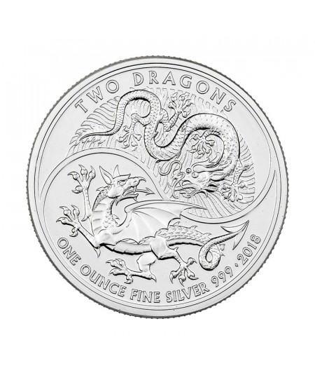 1oz Silver Coin Two Dragons from 2018