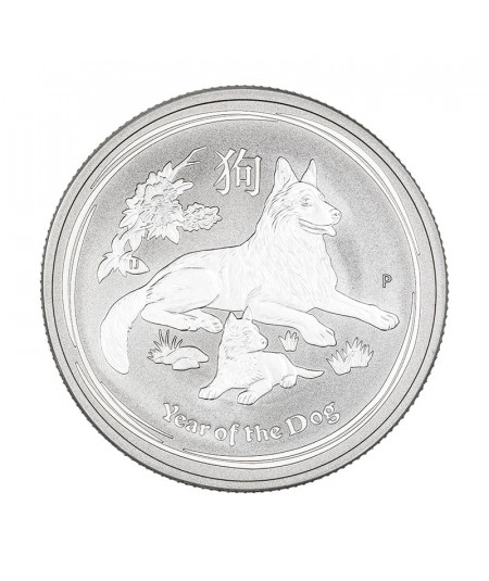2oz Silver Coin Year of the Dog from 2018 - Australian Lunar Serie