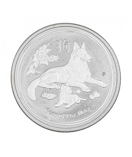 1/2oz Silver Coin Year of the Dog from 2018 - Australian Lunar Serie