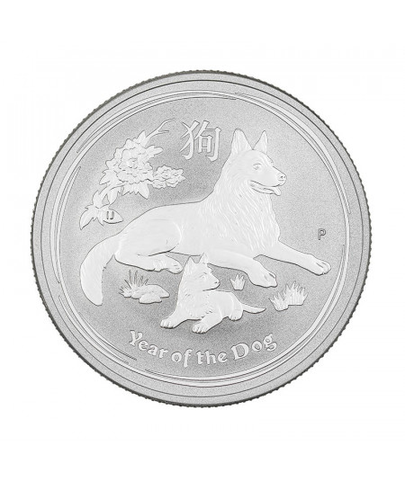 1oz Silver Coin Year of the Dog from 2018 - Australian Lunar Serie