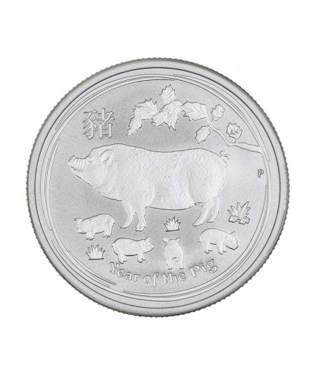 1/2oz Silver Coin Year of the Pig from 2019 - Australian Lunar Series