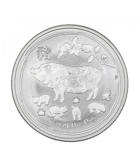1oz Year of the Pig Silver Coin from 2019 - Australian Lunar series