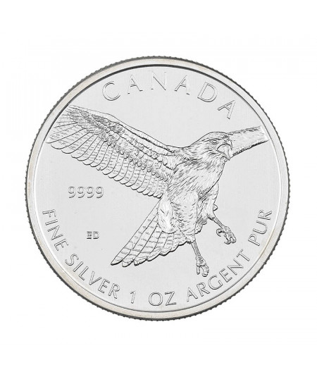 1oz Silver Coin Red Tailed Hawk from 2015 - Birds of Prey Series