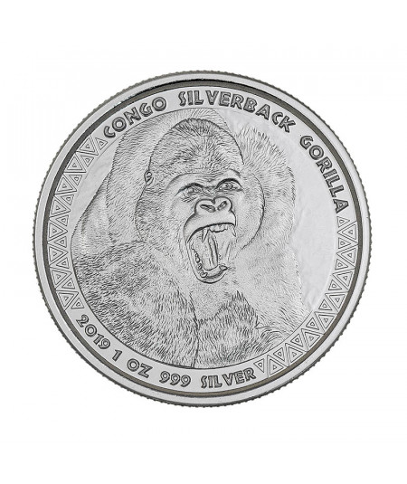 1oz Silver Coin Silverback Gorilla of the Congo from 2019