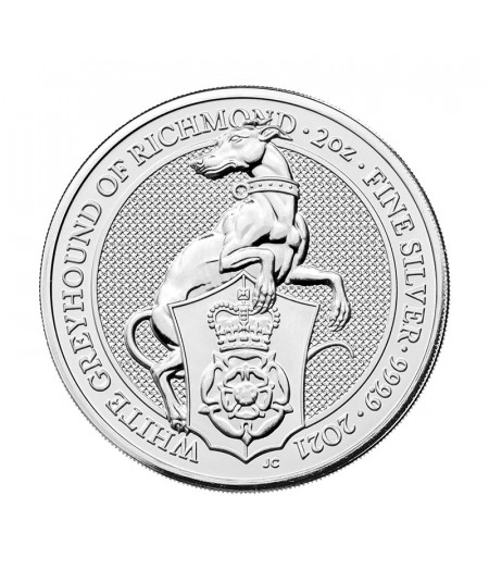 2oz Silver Coin Greyhound of Richmond from 2021 - Queen's Beasts Serie
