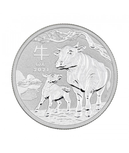 2oz Silver Coin Year of the Ox from 2021 - Australian Lunar Series